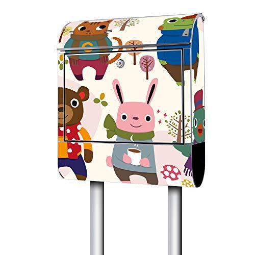 Banjado Design Briefkasten mit Motiv Schal Tragen | Stahl pulverbeschichtet mit Zeitungsrolle | Größe 39x47x14cm, 2 Schlüssel, A4 Einwurf, inkl. Montagematerial mit Ständer Stahl weiß - Tragen Große Schal