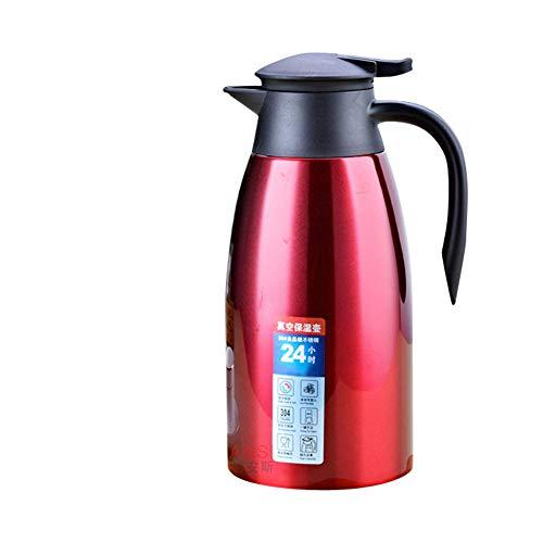 GUOCU Thermique Carafe en Acier Inoxydable Pichet à Café Double Paroi Isotherme Thermos,Rouge,1.5 L(24 Hours Insulation)