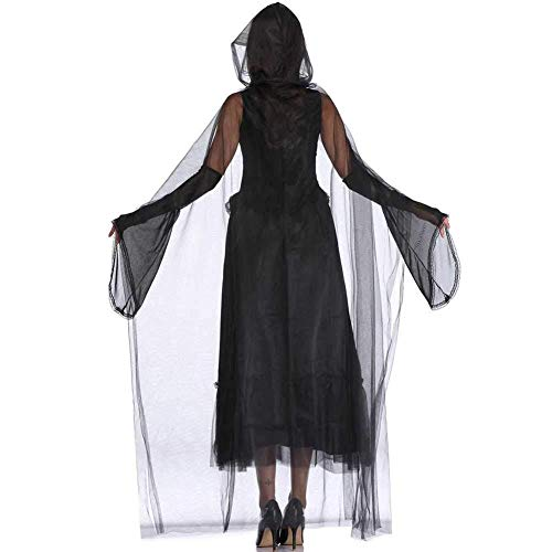 GWNJSSX Karneval Kostüm,böse Hexe Kostüm Kleid Party Cosplay Frauen Halloween-Nacht Kapuzen Robe Kostüm Mit Kleid and Mantel (Scream Robe Kostüm)