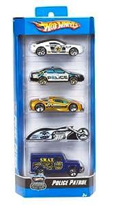 Mattel - R0965 - Voiture Miniature - Hot Wheels® - Pack de 5 - Police Pursuit