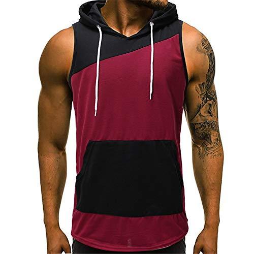 Youthny Herren Kurzarm T-Shirt Sweatshirt Muskel Tank Top Hoodie mit Kapuze (S, rot 3)