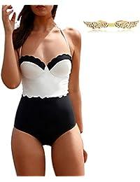BYD Mujeres Trajes de una pieza Cintura Alta Vintage Bañador Push Up Halter Bikinis Ropa de baño