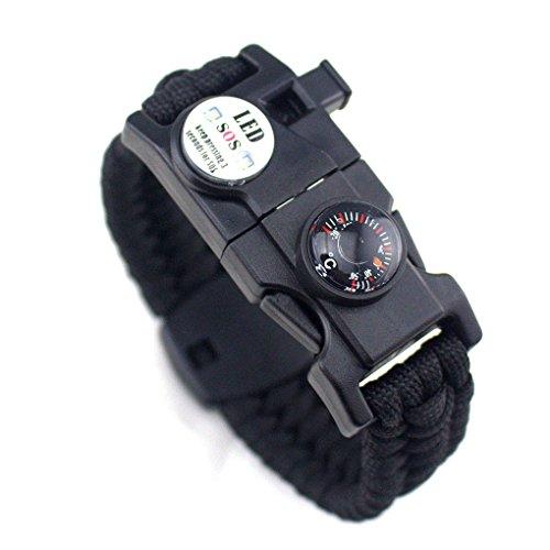 Hommes Femmes Tressé Survivre Bracelet LED Paracord Wristband Camping Rescue Kit de vitesse corde avec sifflet boussole Allume-feu LUFA
