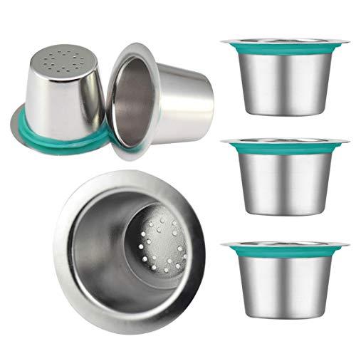 FineInno 6 Stück Edelstahl Wiederverwendbare Kaffeekapseln Adapter Refillable Coffee Capsules Pods...