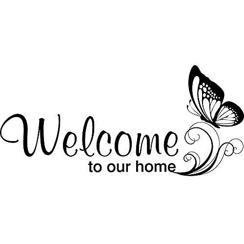 Willkommen zu meinem Haus Englisch Wohnzimmer Türrahmen Dekorative Wandaufkleber Transparent Entfernbare Wandaufkleber 33 * 56 CM