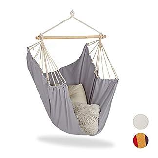 Relaxdays, Gris Silla Colgante para Interior y Exterior, Hamaca para Niños y Adultos, hasta 150 kg