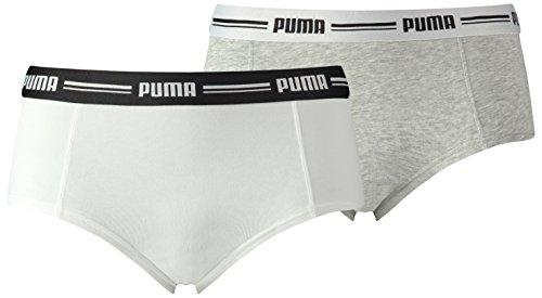 Puma Damen Iconic Mini Shorts 2P Unterwäsche, White/Grey Melange, XL Preisvergleich