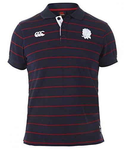 Canterbury Herren England Rugby Short Sleeve Stripe Polo Shirt Top Small Navy