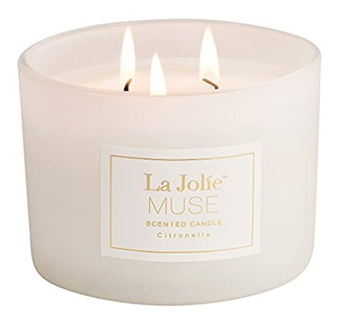 Citronella Candles Outdoor 440g 85 Hours Burn, Mosquito Repellent Candle 3 Wicks