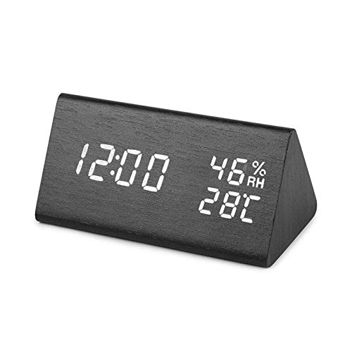 NR LED Reloj Despertador De Madera Mesa Control De Voz Reloj Digital Temperatura Humedad Pantalla Madera Despertador Relojes De Escritorio USB/AAA