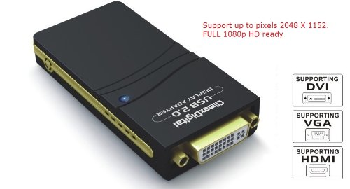 ClimaxDigital CUH195 (DisplayLink DL-195 Chipsatz) USB 2.0 auf DVI-, VGA- oder HDMI-Adapter (unterstützt bis zu 2048 x 1152), 1080p Full HD ready, Multi Display Adapter / Verteiler / Konverter (Usb Powered Vga-splitter)