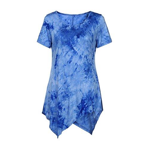 VEMOW Neue Design Sommer Frauen Damen Casual T-Shirt Oansatz Bluse Ptinted Kurzarm Unregelmäßige Tops Plus Größe (EU-54/CN-5XL, Blau) (Damen Anzug Design)
