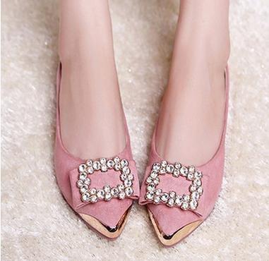 XAH@ Chaussures asakuchi daim strass pointus chaussures plates femmes Purple