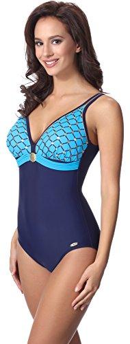 aQuarilla Damen Badeanzug AQ100(Navyblau/Blau, 40) (Badeanzug Weibliche Plus Size Kostüme)