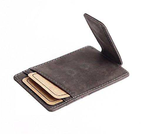 URAQT Leder Money Clip Geldscheinklammer Kreditkartenetui Visitenkartenetui, Vintage-Style Geldbörse Brieftasche Herren Damen (grün)