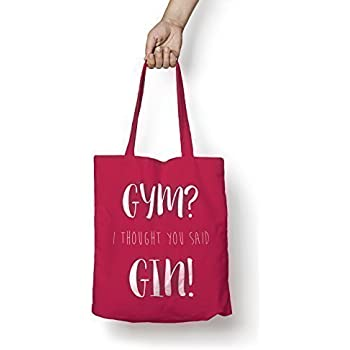 Gym I Thought You Said Gin, Cotton Tote Bag Shopper Funny Workout Yoga Bag New (Cranberry, with white print)