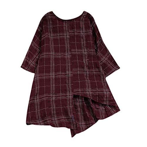 ESAILQ Frauen Vintage Baumwolle Leinen Kariertes Hemd(XL,Weinrot)