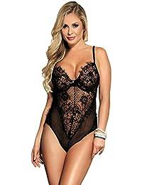 comeondear Femme Combinaison Sexy Lingerie Dentelle Teddy Grande Taille Body  Col V Érotique 1b8627d123f