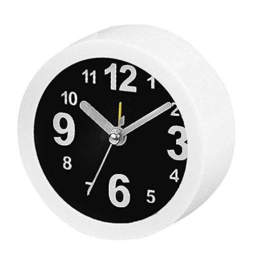 Urlaub-Geburtstagsgeschenk für Classic kleine Runde Alarm Clock Rezeption Tabelle Desktop Time Clock Simple Style Home Office Dekoration Neuheit weiß schwarz