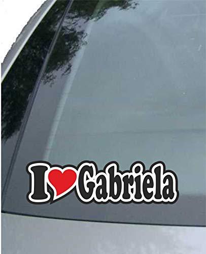 Preisvergleich Produktbild INDIGOS UG - Aufkleber / Autoaufkleber - I Love Heart - Ich Liebe mit Herz 15 cm - I Love Gabriela - Auto LKW Truck - Sticker mit Namen vom Mann Frau Kind
