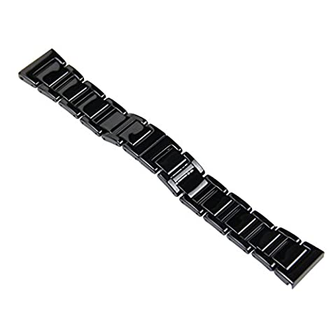 RECHERE 20mm Ceramic Solid Links Watch Band Strap Bracelet Deployment Invisible Double Folding Clasp Black