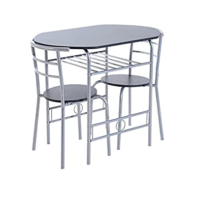 HOMCOM Metal 3pc Breakfast Table and Chairs Compact Modern Dining Set Kitchen Bar Seater Home Furniture w/ Storage Shelf - inexpensive UK light shop.
