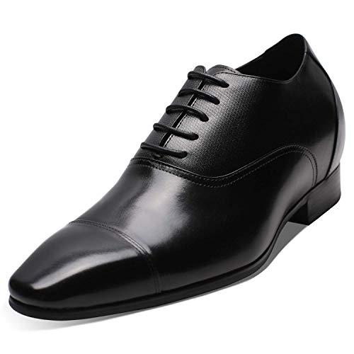 CHAMARIPA Scarpe di cuoio con Rialzo per Uomo Che Permettono di Aumentare la Statura Fino a +7.5 cm - Scarpe da Uomo con Aumento - Scarpe Che Aumentare la Tua Altezza - K4020