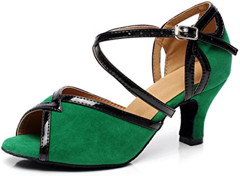 JSHOE Baile De Salón De Salsa Latina En Cuero Cruzado Para Mujeres,Green-heeled6cm-UK5/EU37/Our38