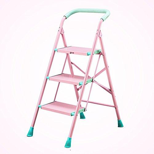 QFFL tideng Schritt-Schemel-Aluminiumlegierungs-faltende Leiter verdicken vier oder fünf Schritte Rolltreppe-Ausgangsinnenleiter-Schritt-Leiter-kleine Leiter 2 Farbe optional (Farbe : B, größe : 3#)