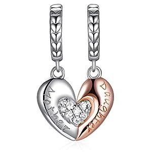 FOREVER QUEEN Mutter Tochter Herz Liebe Charm Bead für Armband 925 Sterling Silber Charm Anhänger MuttertagGeschenk Mit Geschenkbox