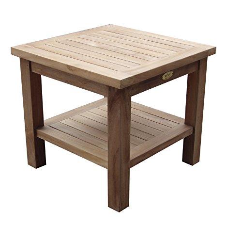 BEHO Natürlich gut in Holz ! Bostontable 50x50x45 cm aus unbehandelten Teakholz, stabil, hochwertig langlebig Beistelltisch Nachtschrank