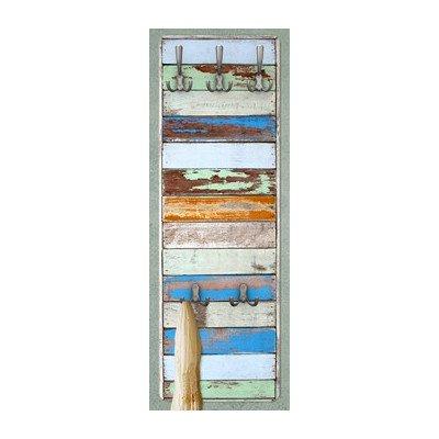 Apalis 79483 Wandgarderobe Shelves of the Sea natura | Holz Maritim Flur Haken Edelstahl Holzbild Wandpaneel Design Büro | 139x46cm