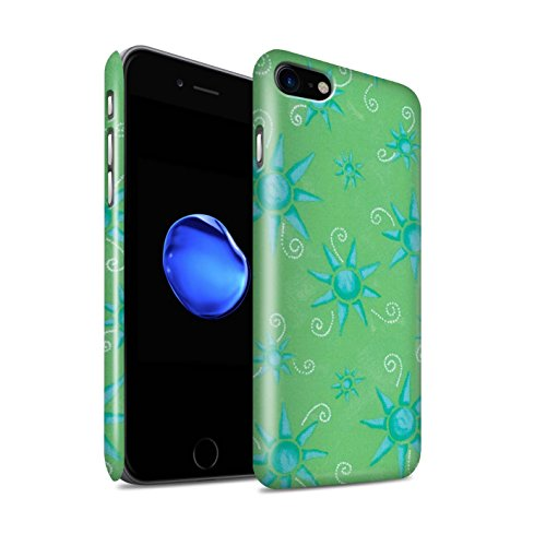 STUFF4 Glanz Snap-On Hülle / Case für Apple iPhone 8 / Blau/Lila Muster / Sonnenschein Muster Kollektion Grün/Blau