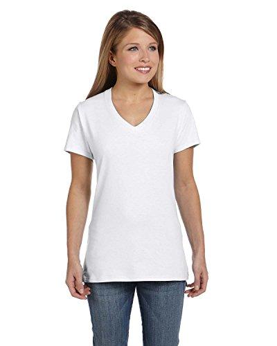 Hanes V-neck T-shirts (Hanes Women's Nano-T® V-Neck T-Shirt L White)