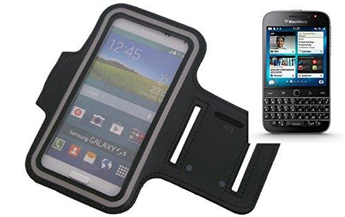 K-S-Trade Für BlackBerry Classic Neopren Jogging Armband Sportarmband Oberarmband schwarz für BlackBerry Classic mit Reflektor Streifen. Fitness Lauf Armband