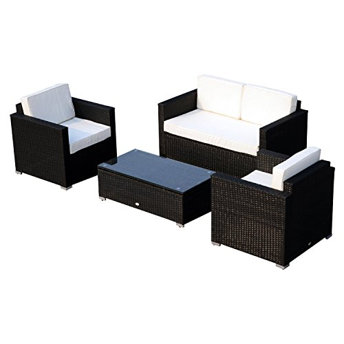 Outsunny Garden Rattan Furniture  Sofa Table Outdoor Wicker Weave Chairs Patio Set  - Black (4-Piece)