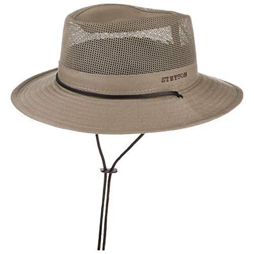 Stetson Takani Safarihut Damen/Herren | Hut aus 100% Baumwolle | Stoffhut mit UV-Schutz 30 | Sonnenhut mit Kinnband | Knautschbarer Netzeinsatz | Traveller beige XL (60-61 cm) - Hut Kinnband