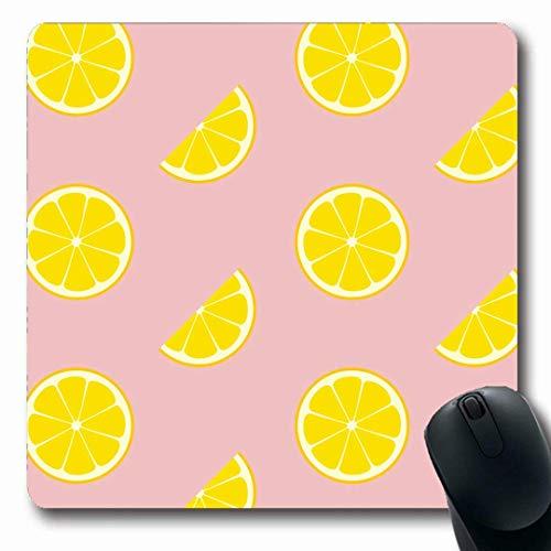 Mousepads Mädchen Gelb Su er Rosa Limonade Zitrone Essen Kinder Trinken Geschnitten Obst Muster Niedlich Botanisches Design Längliche Form rutschfest Gaming Mouse Pad Gummi Längliche Matte,Gummimatte -