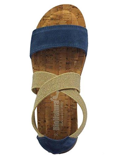 Bionatura 34 A 825 Imb, Sandalo da Donna con Memory Foam Scamosciato Avio
