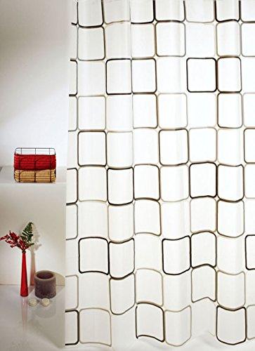 HOMESTYL Duschvorhang QUADRO 180x200 cm Modern & Trendig Vorhang (Grey/Black)