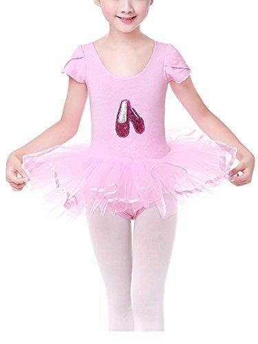 Happy Cherry Mädchen Tanz Kleider Kurzärme Ballettkleid Kinder Elastischer Ballettanzug Tanz Trainer Kleider Ballett Trikot mit Tütü Röck Gymnastikanzug Rosa Für Körpergröße (Muster Kostüme Tanz Kinder)