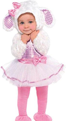 erdbeerloft - Baby - Mädchen Süßes Lamm-Kostüm, Schäfchen, Kaneval, Faschingskostüm,, L, (Schäfchen Kostüm)