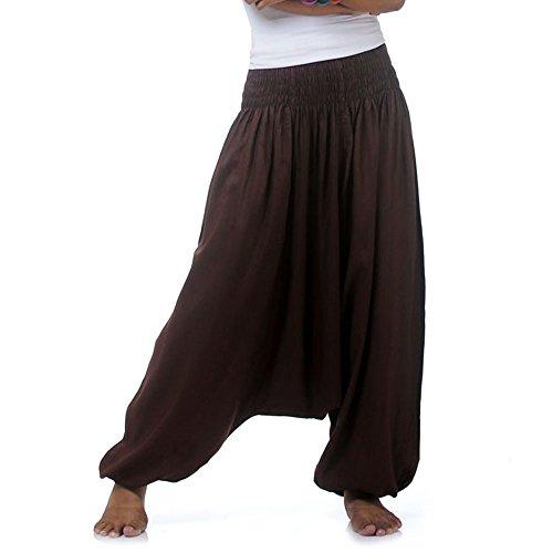 Mann Braun Lieferung Kostüm - Princess of Asia Hippie Hose Haremshose Aladinhose Pumphose für Damen & Herren 36 38 40 42 Braun