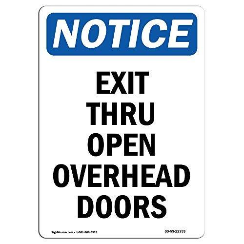 Diuangfoong OSHA Hinweisschild Exit Thru Open Overhead-Türen, Aluminiumblech, 30,5 x 45,7 cm -