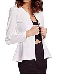 Frauen Exposed mit Reißverschluss Peplum Langarmshirt Damen Blazer