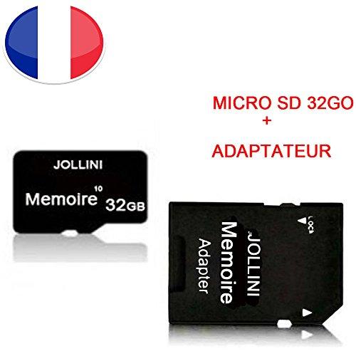 Carte mémoire Micro SD 32 Go Classe 10 + Adaptateur SD pour Axioo M4U / M4U+ - Jollini