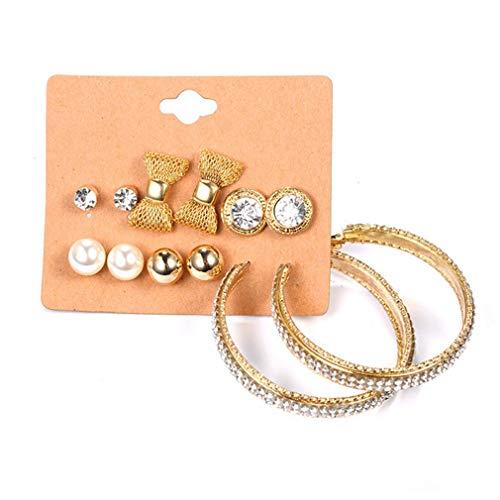 MOONRING Mode-Stil Ohrringe Set Bow Ohrringe Imitation Perle Ohrringe Strass Ohrringe