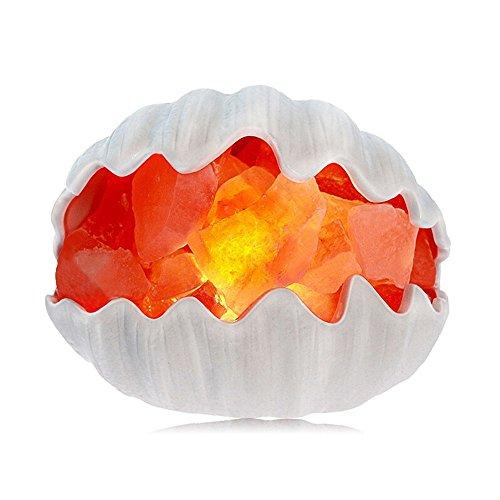 ZOE Tischlampe Salz Lampe Kreative Kristallsalz Keramikschale Warmes Licht Ornamente Nachtlicht Schlafzimmer Nachttischlampe Dekoration Luftreinigung Geschenke (Schattierungen Tiffany)