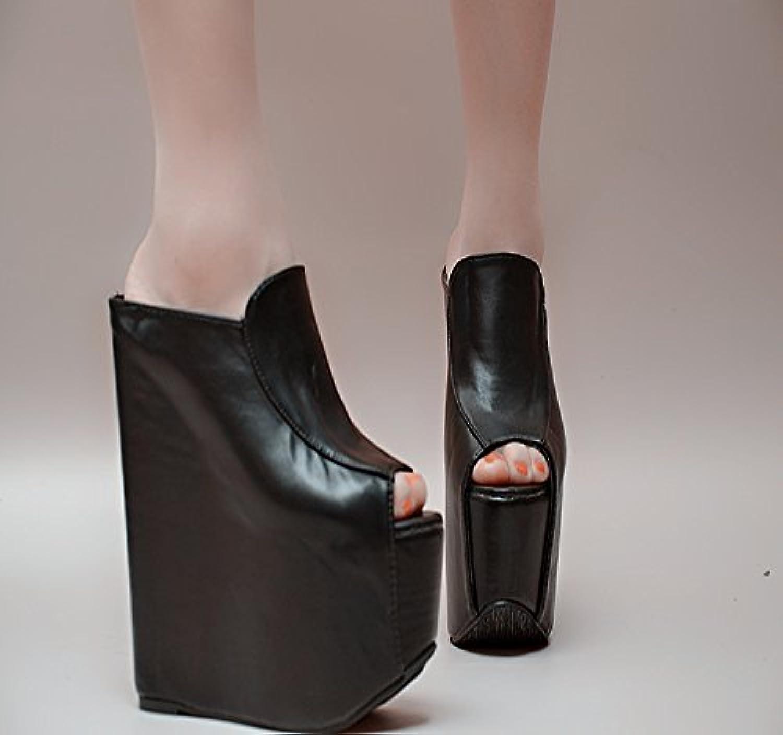 XiaoGao 17 cm. super zapatillas de tacon,Black -