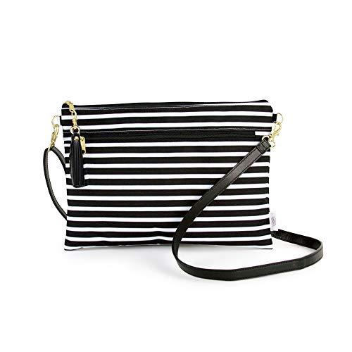 Logan + Lenora Convertible Clutch - wasserdichte Reisetasche mit abnehmbarem Schultergurt, Schwarz (Audrey Stripe), Small